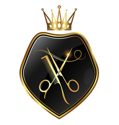 scissors and comb gold crown symbol vector image