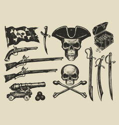 set hand drawn on a pirate vector image
