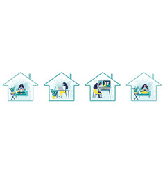 set home activities inside house icon woman vector image