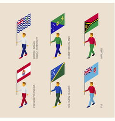 Set of isometric 3d people with flags oceania vector