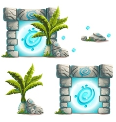 Set of objects palm a magical portal rock vector