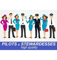 set of pilots and two stewardesses in uniform vector image