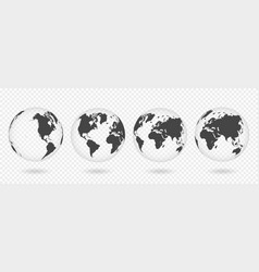 set of transparent globes of earth realistic vector image