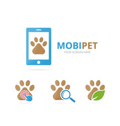 set paw logo combination pet and mobile symbol vector image