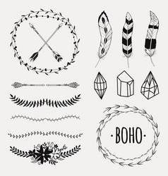 set with decorative ethnic elements vector image
