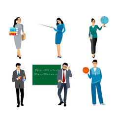 six teachers on white vector image