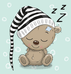 Sleeping cute teddy bear in a hood vector