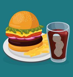 soda with amburger fast food menu vector image