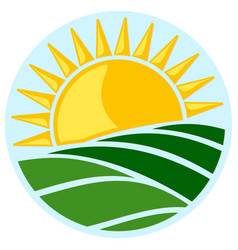 Symbol of sun and field vector