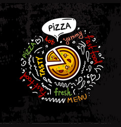 tasty fast food pizza menu vector image