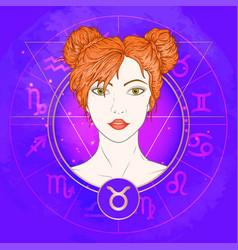 Taurus zodiac sign and portrait vector