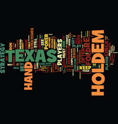 Texas holdem strategies text background word vector