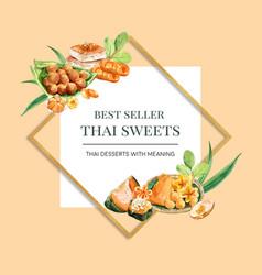 Thai sweet wreath design with egg custard steamed vector