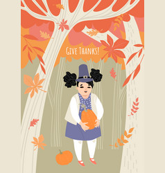 thanksgiving greeting card with a cute girl vector image