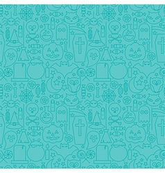 Thin Line Halloween Holiday Seamless Blue Pattern vector