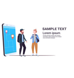 tourists couple using mobile navigation app with vector image
