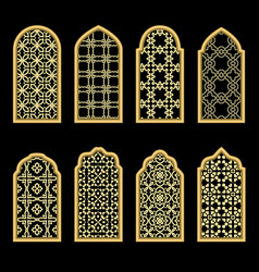 Traditional gold arabic window vector
