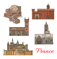 Travel landmarks of france with tourist sights vector