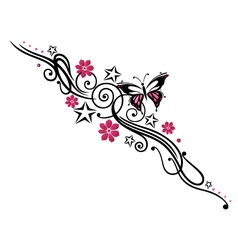 tribal flower butterfly tattoo style vector image