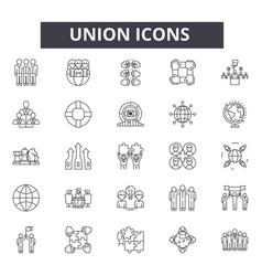 union line icons signs set linear vector image
