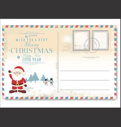 Vintage christmas letter to santa claus vector