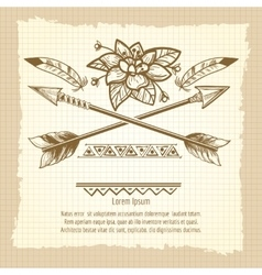 Vintage poster with arrows and flower vector