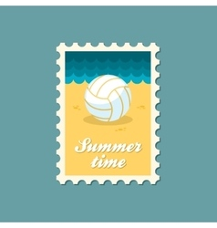 Volleyball flat stamp vector