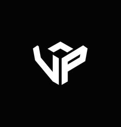 Vp logo monogram with emblem style ribbon design vector