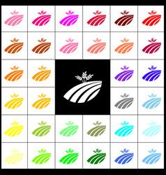 Wheat field sign felt-pen 33 colorful vector