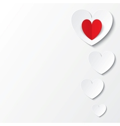White paper hearts Valentines day card on white vector image