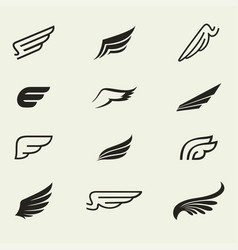 Wings icons set 1 vector
