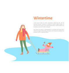 Wintertime activity pastime of mother and child vector