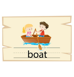 wordcard template for word boat vector image