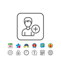 add user line icon profile avatar sign vector image vector image