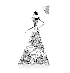Fashion girl silhouette in wedding dress vector image