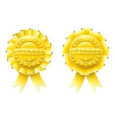 gold winner rosettes vector image