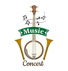 Music concert emblem with clef notes vector image vector image