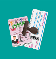 passport with visas stamps boarding pass vector image vector image