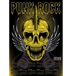 poster skull and calendar for punk rock vector image vector image