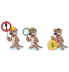 Tan meerkat mascot with money vector