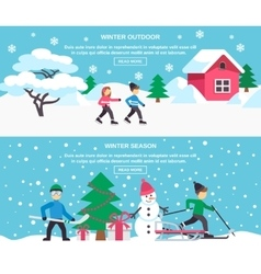 Winter Season 2 Flat Banners Set vector image