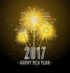 2017 Happy New Year Fireworks Night Background vector image vector image