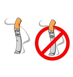 Cartoon unhappy cigarette character vector image