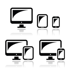 Computer tablet smartphone icons set vector image vector image