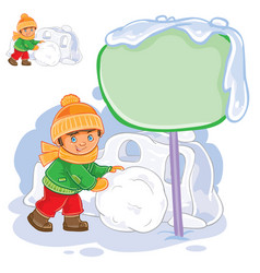 little boy rolling a snowball and building vector image