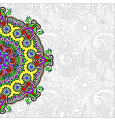 ornamental circle template with floral background vector image vector image