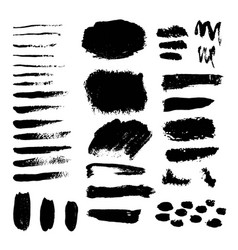 set of grunge black paint ink brush vector image