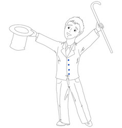 young businessman with a hat and cane vector image