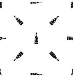 champagne bottle pattern seamless black vector image vector image