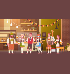 group of people drink beer in bar oktoberfest vector image